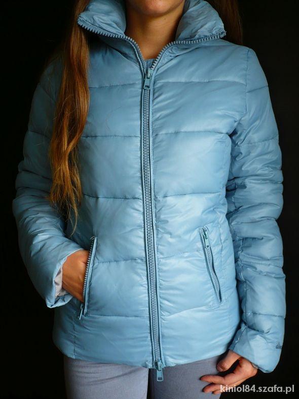 Błękitna kurtka puchowa ocieplana Diverse 36 S w Odzież
