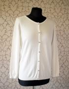 Kremowy biały sweterek kardigan z guzikami kardigan retro vinta...