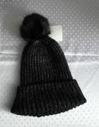 Nowa czapka z pomponem czarno srebrna 158 176...