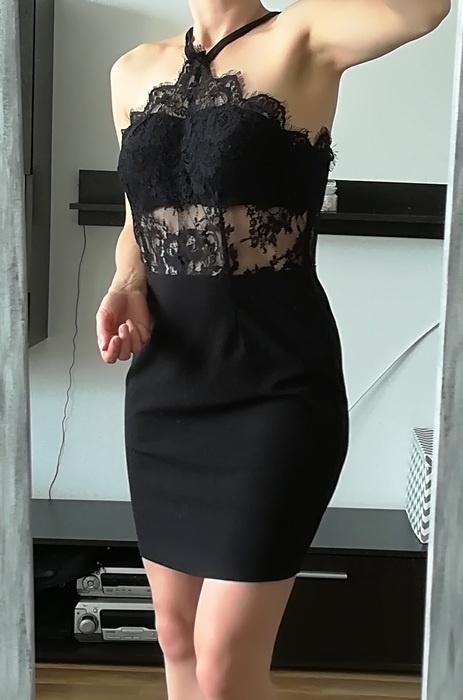 Pink Boutique czarna sukienka koronka M L
