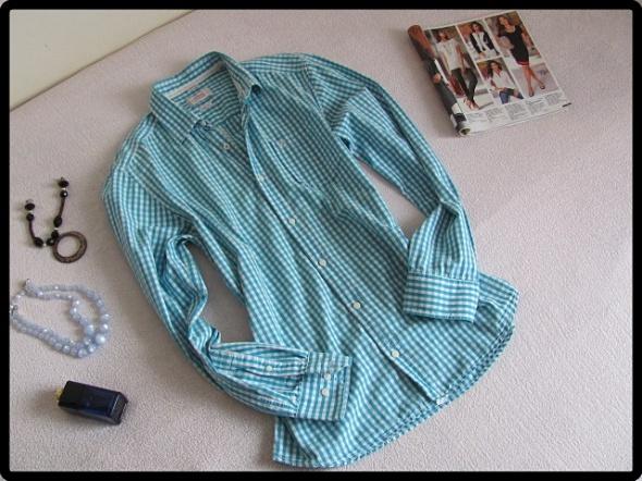 Koszula w kratkę niebiesko biała stan idealny