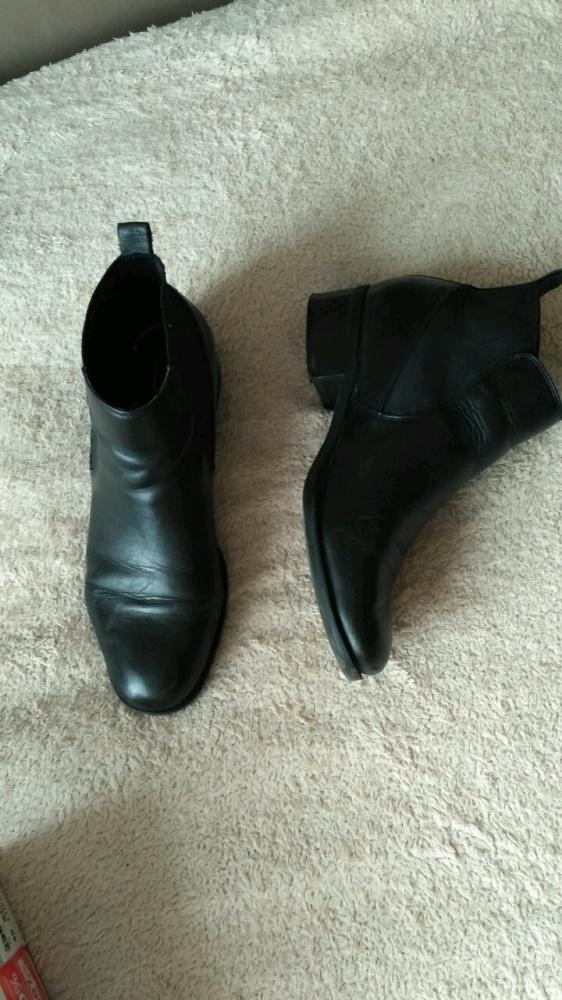 Skórzane czarne botki skóra naturalna