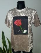 Welurowa bluzka róża...