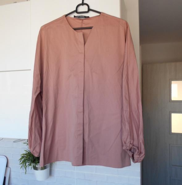Zara pudrowa różowa koszula z popeliny bluzka bawełniana szerokie rękawy minimalizm