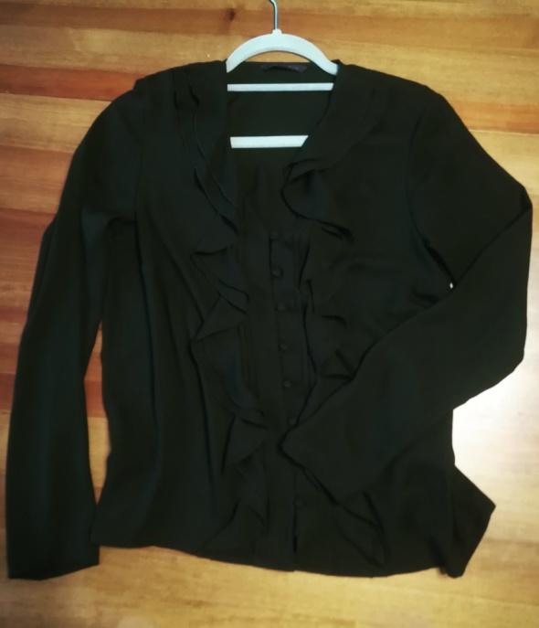 Koszule Czarna elegancka koszula z żabotem