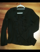 Czarna elegancka koszula z żabotem...