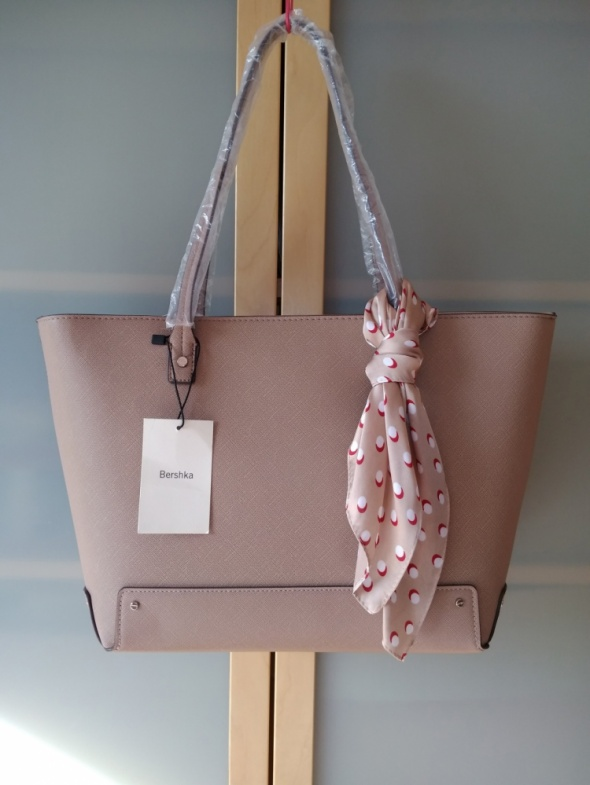 Nowa duża stylowa torba shopper ozdobną z apaszką w groszki Bershka