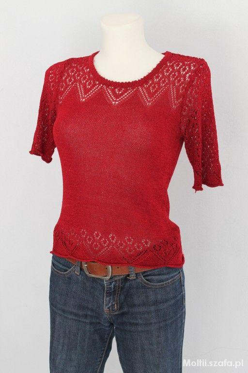 Bluzki czerwona ażurkowa