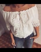 Bluzeczka biała koronka sznurowana hafty mega sexy...