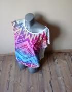 Letnia bluzeczka aztek z koronkowymi pleckami L...