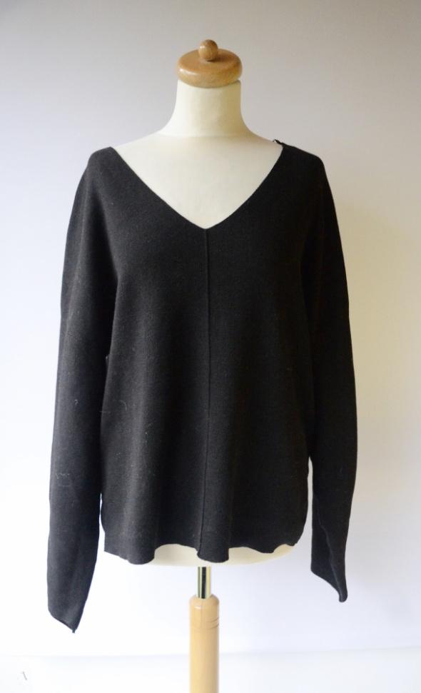 Sweter H&M Conscious XL 42 Czarny Oversize Luzny Dekolt V...