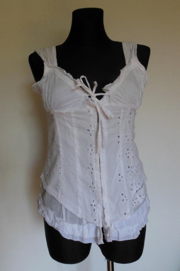 Terranowa biały top haftowany bluzka boho...
