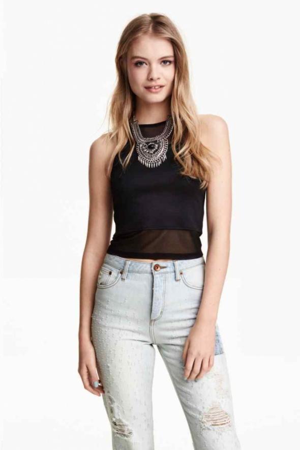 czarny top h&m xs 34 siatka siateczka bluzka koszu