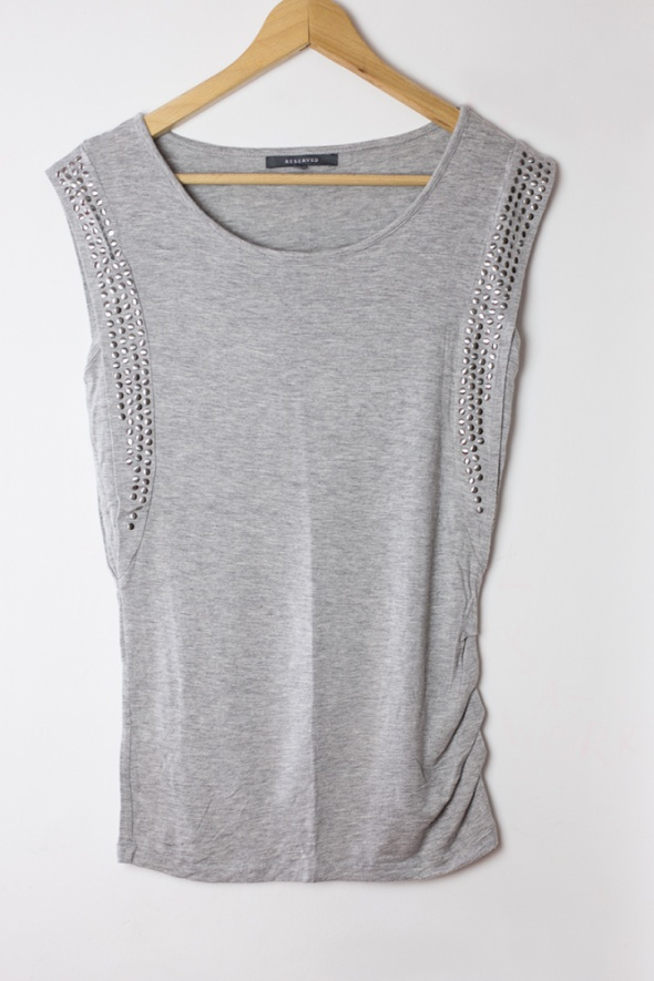 Szara koszulka top siwa cwieki dzety elegancka