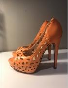 Buty szpilki pomarańczowe ażurowe 36