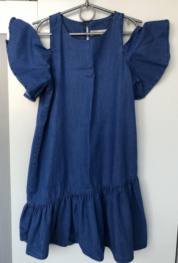 ZARA Kids sukienka granatowa z falbaną rozm 11 12 lat 152 cm stan BDB