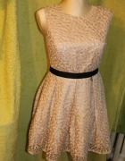 Koronkowa sukienka na wesele złota sukienka z brokatem