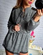 Dzianinowa szara sukienka czarna koronka