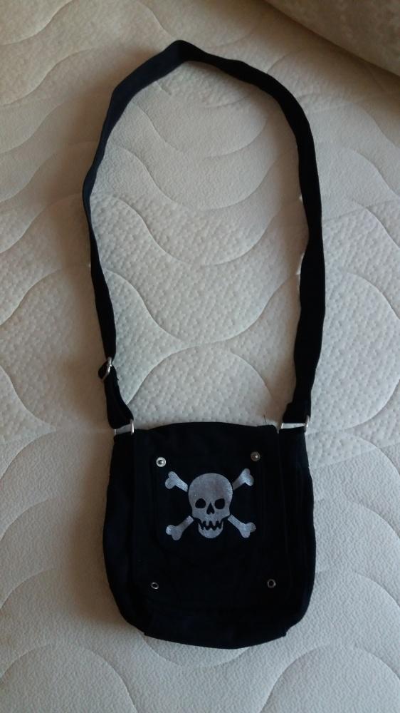 Nowa czarna bawełniana torba listonoszka czaszka emo punk rock
