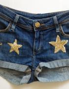 Jeansowe szorty dżinsowe gwiazdki cekiny koraliki XS S 34 36 un...