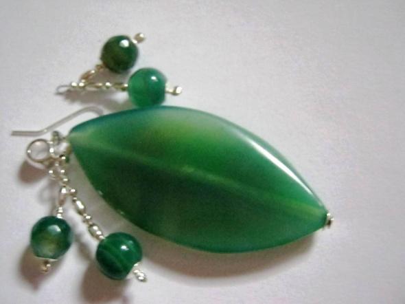 Zielone agatyzestaw biżuteriiwisioreki i kolczyk