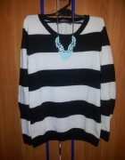 Sweterek w biało czarne paski zamek zip