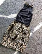 Sukienka czarna hafty cekiny brokat sylwester...