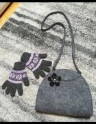 Uroczy zestaw na zimę filcowa torebka z kwiatuszkiem i rękawicz...