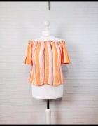 14 42 XL New Look Plus Size Pomarańczowa paskowana hiszpanka...