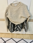 Bezowo szary dłuższy sweter xs 36...