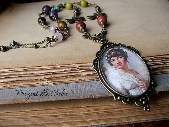 medalion naszyjnik vintage grafika kamienie półszlachetne...