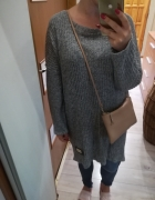 Sweter tunika luźny długi szary minimalizm