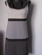 Oryginalna sukienka czerń i odcienie popielu...