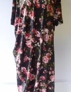 Sukienka Welurowa Kwiaty Welur 52 6XL Marks&Spencer Kwiatki Lon...
