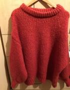 Truskawkowy sweter Zara oversize...