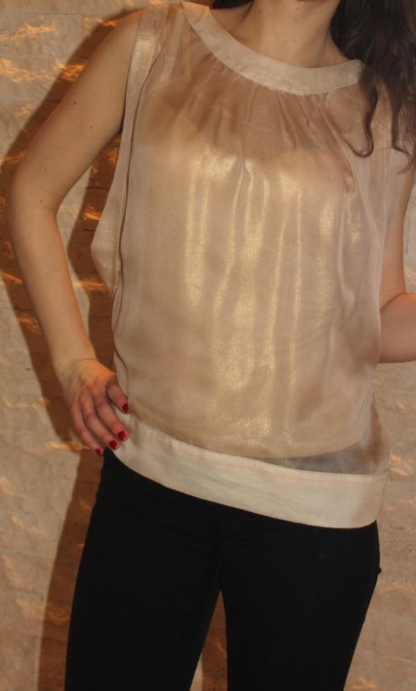 Elegancka satynowa złota bluzka bez rękawów Mohito 34...