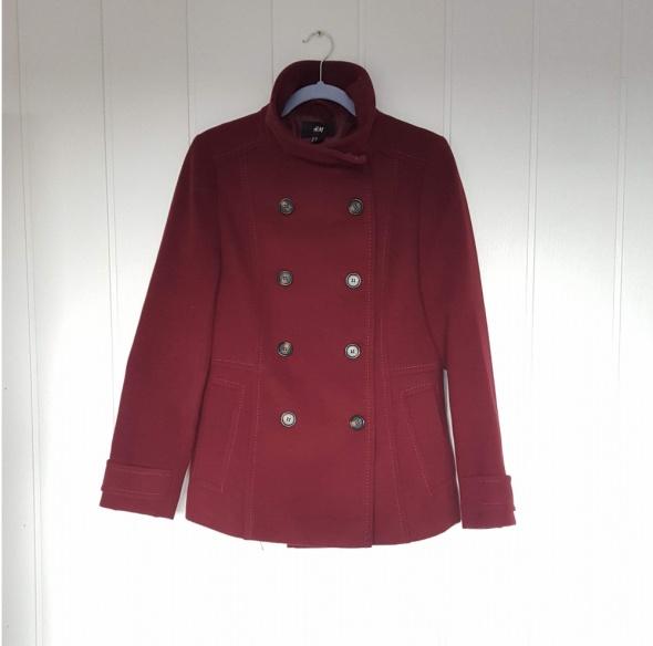 Krótki płaszcz H&M 40 L płaszczyk zima ciemny bordowy flausz ciepły kurtka bosmanka