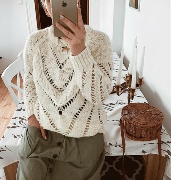HIT blogerski przepiękny beżowy wełniany sweter ecru ciepły zimowy splot warkocz alpaka XS S M