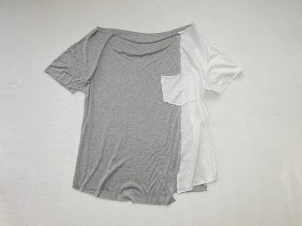szaro biała zwiewna bluzka z kieszonką 40 L
