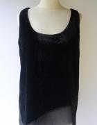 Bluzka Czarna Mango Suit L 40 Welurowa Falbanka Welur...