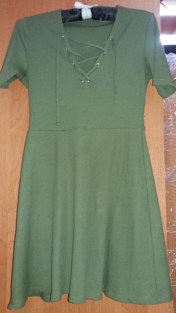 Sukienka dresowa zielona khaki rozkloszowana HM