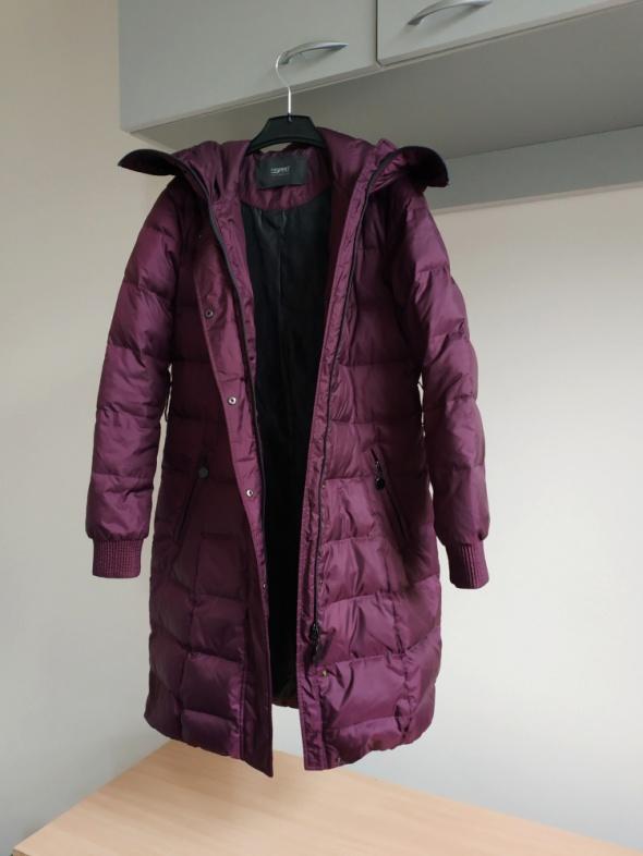 Esprit kurtka puchowa płaszcz fioletowy burgund puch naturalny