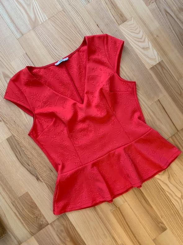 Oasis bluzka elegancka baskinka strukturalna czerwona L XL