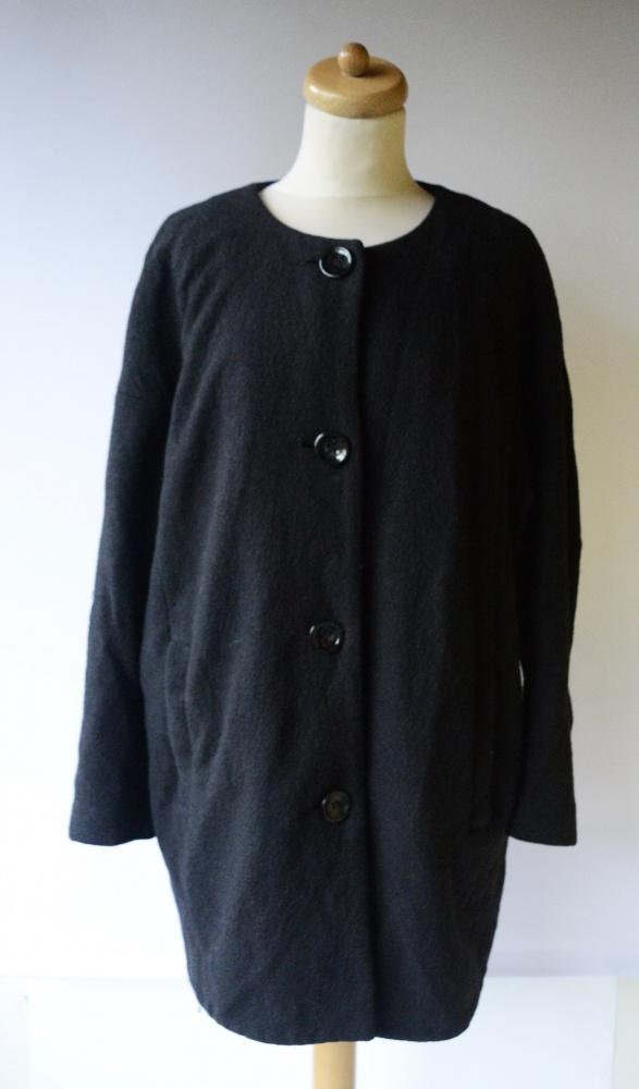 Płaszcz Czarny Lindex S 36 Wełna Wełniany Elegancki