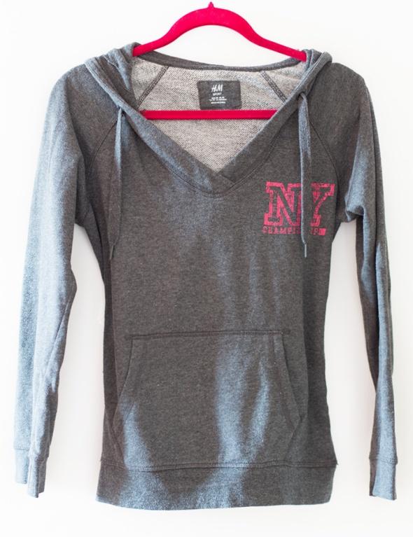 H&M szara bluza z kapturem sportowa ciepla NY