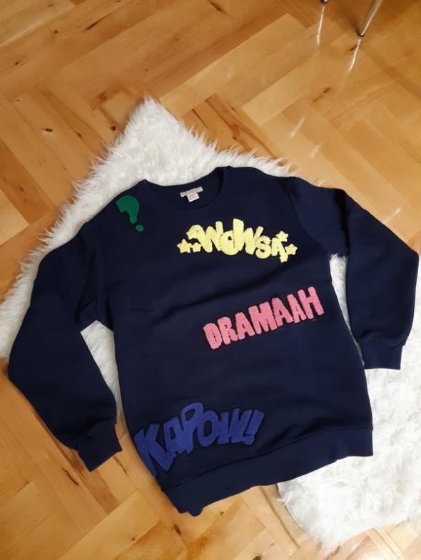 Granatowa bluza z napisami H&m