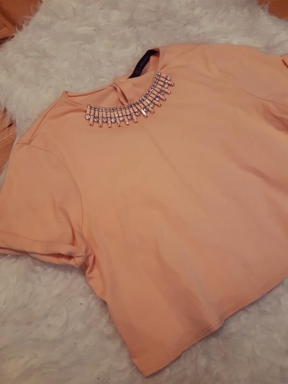 Morelowa pastelowa bluzeczka oversize Zara Basic 36 S
