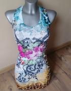 TATU śliczna kolorowa elastyczna sukienka S M