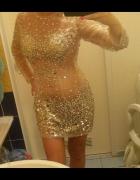 Sukienka na sylwestra sukienka transparentna z kryszatałkami