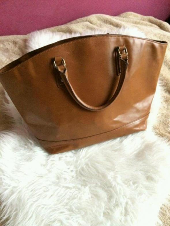 Zara Basic Camel brązowa torba torebka maxi shopper bag